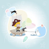 Speelt de kleine jongen van kinderen de piraat Royalty-vrije Stock Foto