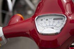 Speerometer of red scooter, moto bike. Italian bike Royalty Free Stock Images