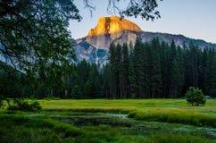 Spegel av Yosemite Falls i Yosemite ängar Royaltyfria Bilder