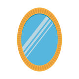 Spegel i utsmyckad ramsymbol för oval tappning Plan design Inre dekor isolerat Vit bakgrund Royaltyfri Bild