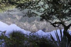 Spegel sjöarna i den Fiordland nationalparken Härliga Nya Zeeland Arkivbilder