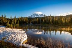 Spegel som reflexion och Mount Rainier arkivfoto