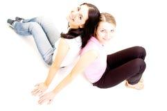 spegeldel för 2 flickor Arkivfoton