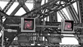 Spegeleffekt av metallstrukturer arkivbild