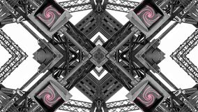 Spegeleffekt av metallstrukturer arkivbilder