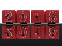 Spegelförsett övergångsbegrepp 2017 till 2018 Arkivfoton