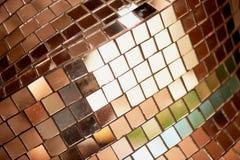 Spegelmosaiktextur Klubbans diskobollen dekorativt element arkivfoton
