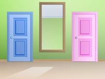 Spegeln och dörren Arkivfoto
