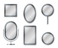 Spegeluppsättning Avspegla bild för tappning för garnering för inre för ram för dekor för exponeringsglas för speglar för reflexi royaltyfri illustrationer