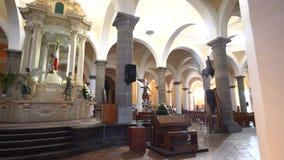 Speical 49 domes church - Capilla Real o de Naturales. Puebla, FEB 19: Interior pan view of the speical 49 domes church - Capilla Real o de Naturales on FEB 19 stock footage