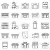 Speicher- und Gebäudeikonensatz stock abbildung