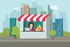 Speichereinzelhandelsfassaden-Vektorillustration, flacher Karikaturentwurf des Bürogebäudes auf Stadtstraße, Schaufenster mit Ver stockfotos