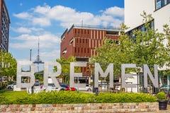 Speicherhafen/小游艇船坞Europahafen布里曼-欢迎向布里曼 免版税库存图片