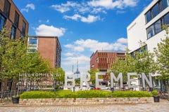 Speicherhafen/Marina Europahafen Bremen - accueil vers Brême Photos libres de droits