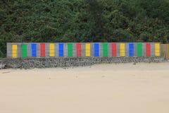 Speicherkabinen mit buntem Doos in St. Ives in Cornwall, England, Großbritannien Stockbild