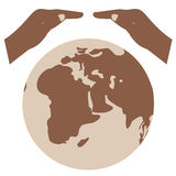 Speichern Sie das Weltvektorsymbol Außer Erde Umweltslogans, Sprechen und Phrasen über die Erde, die Natur und das gehende Grün Stockfotografie