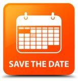 Speichern Sie den orange quadratischen Knopf des Datums Stockfotografie