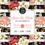 Speichern Sie die Datums-Herbst-und Sommer-Blumenkarte in der Aquarell-Art Weinlese Hortensia Flowers vektor abbildung
