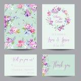 Speichern Sie die Datums-Hochzeits-Einladungs-Schablone mit Frühlings-Hartriegel-Blumen Romantischer Blumengruß-Karten-Satz für F Lizenzfreie Stockfotos