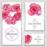 Speichern Sie die Datums- oder Hochzeitseinladungsschablonen mit roten Rosen Stockbilder
