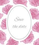 Speichern Sie die Datumsaquarell-Rosarosen Stockfoto