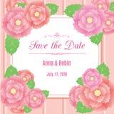 Speichern Sie die Datumsblumenhochzeitseinladung mit Briarrosen Designschablone in den rosa Farben Lizenzfreies Stockbild