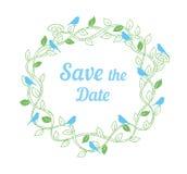Speichern Sie die Datumshochzeits-Designschablone mit Blumenverzierung und Vögeln Stock Abbildung