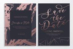 Speichern Sie die Datumshochzeits-Einladungskarten auf Dunkelheit und rosafarbenem Gold-tex lizenzfreie abbildung