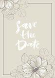 Speichern Sie die Datumskarte mit Anemone Stockfoto