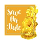 Speichern Sie die Datumskarte mit flaumigen gelben Tulpen Schöne realistische Blumen und Knospen Stockfotografie