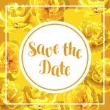 Speichern Sie die Datumskarte mit flaumigen gelben Tulpen Schöne realistische Blumen und Knospen Stockbilder