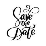 Speichern Sie die Datumstextpostkarte Hochzeitsphrasen-Beschriftungsvektor Tintenillustration Moderner Bürstenkalligraphie Flouri vektor abbildung