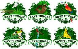 Speichern Sie Dschungelembleme mit den eingestellten Tieren Lizenzfreies Stockfoto