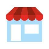 speichern Sie Front lokalisiertes Ikonendesign Stockbilder