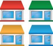 Speichern Sie Frontseite mit Markisen-Farben Lizenzfreies Stockbild
