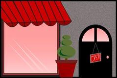 Speichern Sie Frontseite mit roter Markise Lizenzfreies Stockfoto