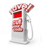 Speichern Sie Heizgas-Pumpen-Tankstelle schneiden Ihr Kosteneinsparungs-Budget lizenzfreie abbildung