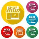 Speichern Sie Ikone, Shopikone, Farbikone mit langem Schatten Lizenzfreie Stockfotografie