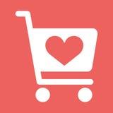 Speichern Sie Warenkorbikone mit Form des Herzens Stockfotografie