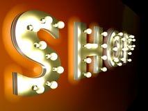 Speichern Sie Zeichen mit Glühlampen Stockfoto