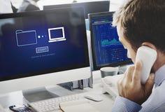 Speicheron-line-Datenübertragungs-Synchronisierungs-Informationstechnologie-Konzept Stockbilder