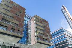 Speicherstadt Αμβούργο Γερμανία, αρχιτεκτονική με το μπλε ουρανό στο υπόβαθρο Στοκ Εικόνες