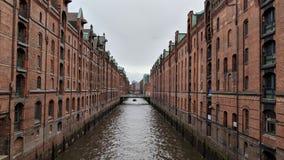 Speicherstadt :仓库城市在汉堡,德国 免版税库存图片