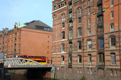 Speicherstadt/almacenes en Hamburgo Imágenes de archivo libres de regalías
