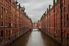 Speicherstadt At Night In Hamburg Royalty Free Stock Images