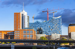 Speicherstadt district with Elbphilharmonie building in Hamburg Royalty Free Stock Images