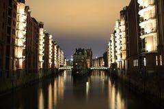 Speicherstadt Hamburg bij nacht Royalty-vrije Stock Fotografie