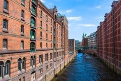 Speicherstadt in Hamburg, Deutschland ist das größte Bauholz der Welt Stockbild