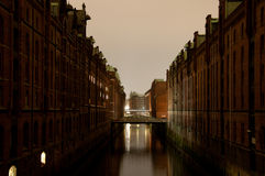 Speicherstadt In Hamburg, Germany in the evening Stock Photo