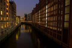 Speicherstadt of Hamburg, Germany at night. Hamburg/Germany - February, 2nd, 2017: City view of Speicherstadt of Hamburg, Germany at night stock photos